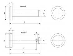 DIN 1444, sworznie z łbem walcowym, ISO 2341