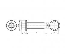 Wkręty do metalu samoformujące z łbem sześciokątnym z kołnierzem, ~DIN 7500 DE