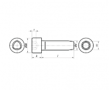 DIN 7500 OE, Wkręty samoformujące z łbem walcowym z gniazdem sześciokarbowym