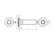 Wkręty samoformuące z łbem stożkowym soczewkowym soczewkowym, DIN 7500 QE