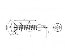 Wkręty wiercąco - frezujące z łbem stożkowym z gniazdem T (Torx), ~DIN 7504 P