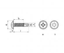 DIN 7504 T, Wkręty samowiercące z łbem podkładkowym, ~DIN 7504 T