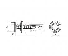Wkręty samowiercące z łbem sześciokątnym z podkładką EPDM ze zdolnością wiercenia, AN 211