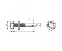 Wkręty samowiercące z łbem sześciokątnym z podkładką EPDM, zdolność wiercenia, AN 212