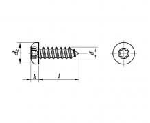 ISO 14585 C, Wkręty samogwintujące z łbem walcowym wypukłym