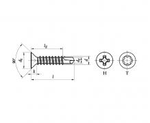 ISO 15482, Wkręty wiercące samogwintujące z łbem stożkowym z wgłębieniem krzyżowym, DIN 7504