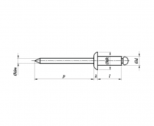 ISO 15979, Nity jednostronne z rdzeniem (zrywalne) standardowe, z łbem płaskim St/St ISO 15979