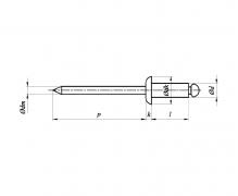 ISO 15983, Nity jednostronne z rdzeniem (zrywalne) standardowe, z łbem płaskim