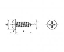 ISO 7049 C, Wkręty samogwintujące z łbem walcowym wypukłym, z wgł. krzyż. H (Philips)