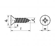 ISO 7050 C, Wkręty samogwintujące z łbem stożkowym, z wgł. krzyż. H (Philips)
