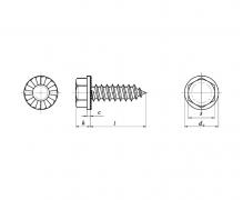 ISO 7053 C, Wkręty samogwintujące z łbem sześciokątnym z podkładką ząbkowaną