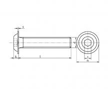 Śruby z łbem podkładkowym, z gniazdem sześciokątnym, z gwintem na całej długości trzpienia, ISO 7380-2