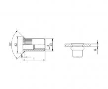 Nitonakrętki przelotowe cylindryczne radełkowane z kołnierzem stożkowym