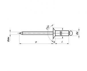 Nity jednostronne z rdzeniem (zrywalne) standardowe, z łbem stożkowym A2A2 ISO 15984