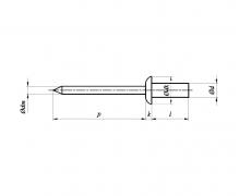 Nity jednostronne z rdzeniem (zrywalne) szczelne, z łbem płaskim, ISO 16585
