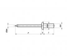 Nity jednostronne z rdzeniem (zrywalne) szczelne, z łbem płaskim AlAl, ISO 15975