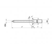 Nity jednostronne z rdzeniem (zrywalne) szczelne z łbem stożkowym, ISO 15974