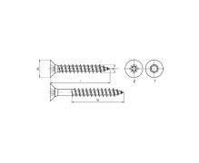 Wkręty do drewna z łbem stożkowym z gniazdem sześciokarbowym Tx (Torx), An 201