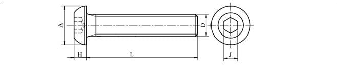 Śruby z łbem zaokrąglonym z gniazdem sześciokątnym
