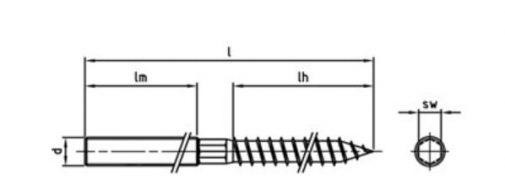 Śruba dwugwintowa sześciokątna z powierzchnią pod klucz