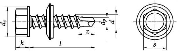 Wkręty samowiercące z łbem sześciokątnym z podkładką EPDM farmerskie